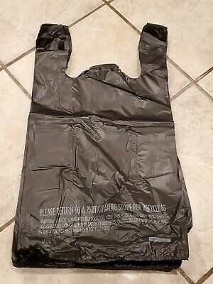 100 T-shirt Bags Plastic Grocery Shopping Bag 11.5x 6.5 X 21 Black 16 Barrel