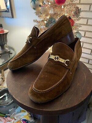 Vintage Mens Gucci Suede Shoes 1975 GG Buckle 43 1/2 Sz 10.5 ? Brown 70's Loafer