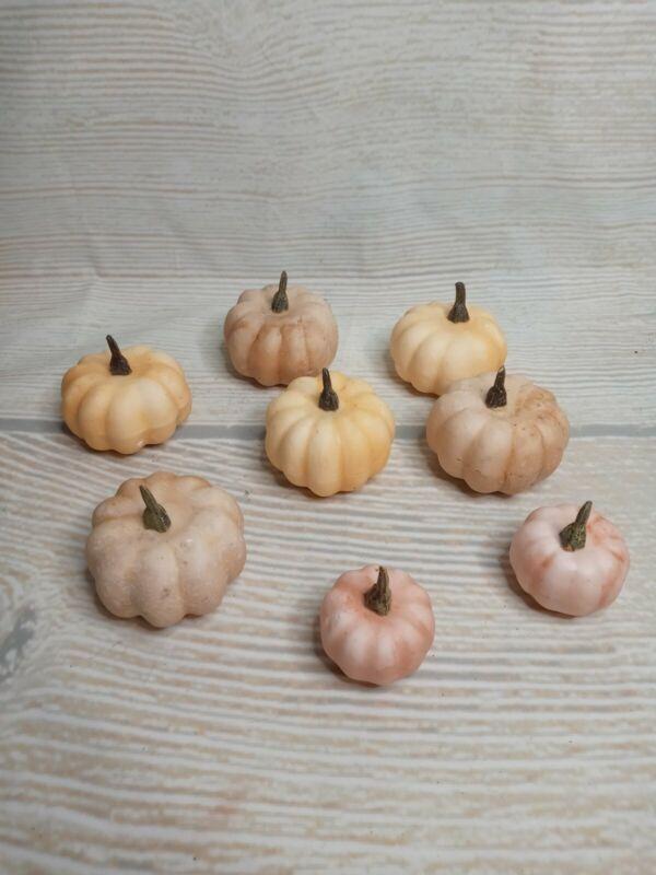 New! Set of 8 MINI Fall Cream Ivory Pink Pumpkins Tabletop Decor Vase Filler