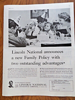 1958 Lincoln National Life Insurance Ad Announces New Family Policy Birthday