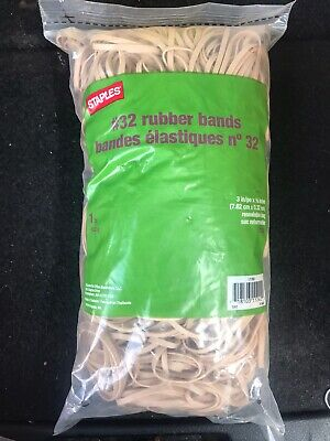 Three Bags Of 1-lbs Staples Economy Rubber Bands 32 In Resealable Plastic Bag
