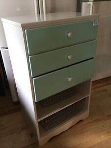 Small white & blue dresser with shelving