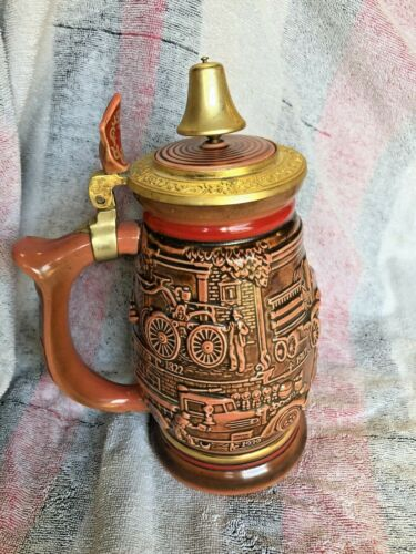 """VTG Avon 1989 """"Tribute to American Fire Fighter"""" Beer Stein with bell!"""