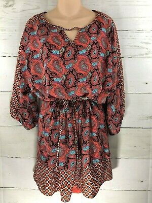 Teal M&m (Aina Be Orange Teal Purple Black Paisley Dress Womens Size Medium M)