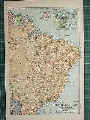 1900 LARGE VICTORIAN MAP SOUTH AMERICA NORTH EAST BRAZIL TRINDAD RIO DE JANEIRO