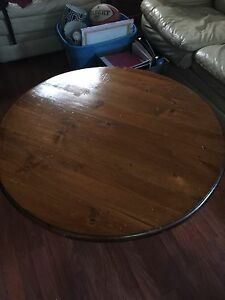 Oak wood kitchen table & 4 chairs + pine wood coffee table