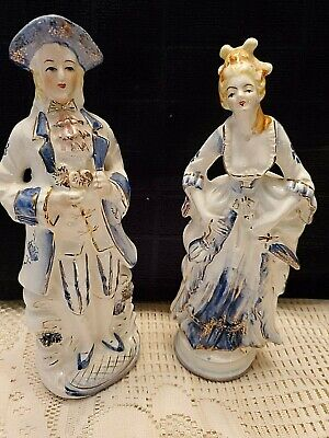 "MAN & WOMAN FIGURINES MADE IN JAPAN 9"" TALL"