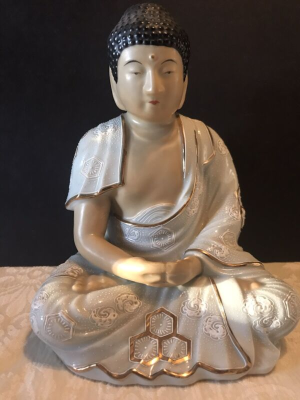 """Vintage 1960's Japanese Sitting Buddha Signed 7"""" Statue Gold Trimmed"""