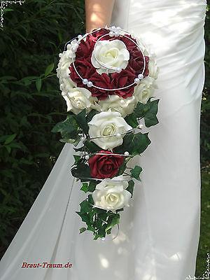 Excl. Brautstrauss Wasserfall, Rosen creme/bordeaux, zum Brautkleid