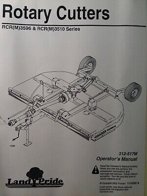 Land Pride Rcrm3596 Rcr3596 Rcrm3510 3-point Pull Rotary Mower Owners Manual