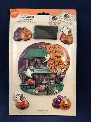 Halloween Wilton Cake Top Topper Set Haunted Mansion Ghosts Tombstones Candles - Haunted Mansion Halloween Decorations
