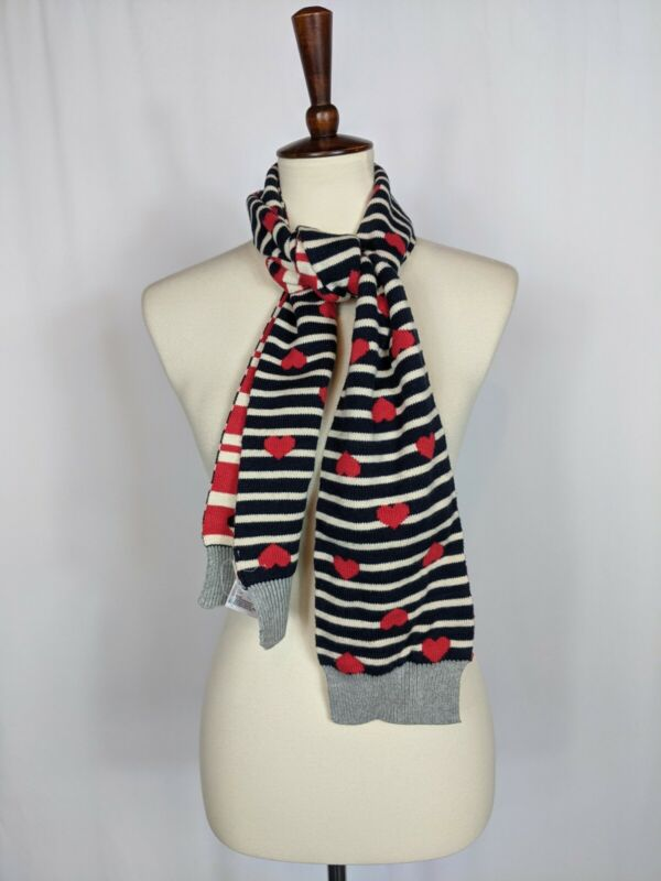 Gap Kids Girls Scarf Blue White Striped Red Hearts Reversible Red Stripes Knit