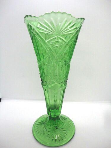 """Northwood Vintage Green Depression Glass Diamond Cuts 9 3/4"""" tall"""