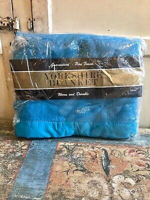Vintage Original New Old Stock 60s 70s Blue Yorkshire Blanket Double Retro