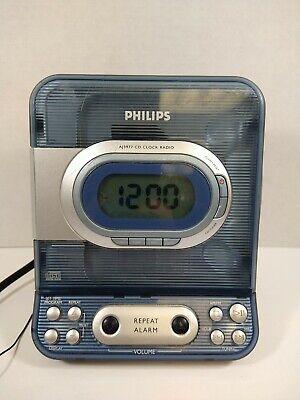 PHILIPS AJ3977 CD player Radio Alarm Clock Combo Unit Clear Blue works amazing!!