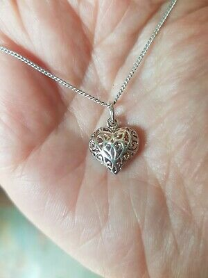Sterling Silver Filigree Heart Necklace 18inch Chain for sale  Shipping to South Africa