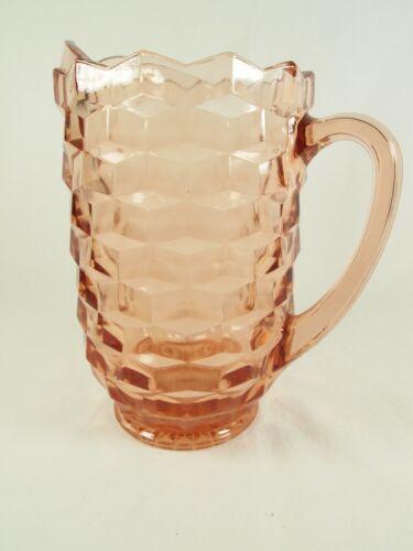 Vintage Jeanette Cubist Pink Glass Pitcher