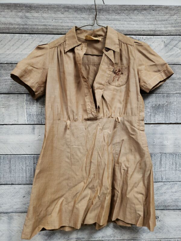 Vintage 40s-50s? Girl Scouts USA Brownie Uniform Brown Dress A7