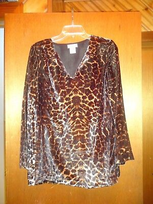 Kate Hill Leopard Print Velour Lined Top M Medium NWT
