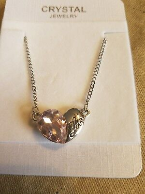 - Austrian Crystal love heart made with Swarovski Elements Necklace light pink