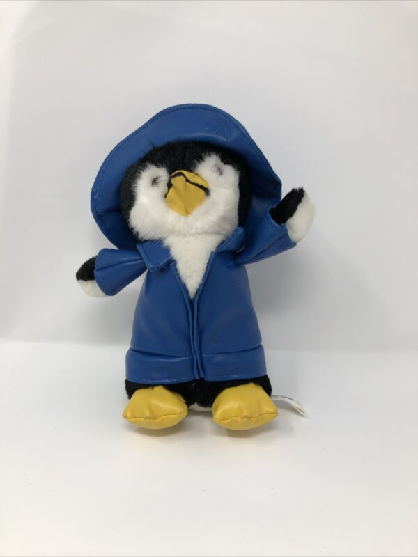 Vintage Rare 1995 Liberty Toy Penguin Blue Rain Jacket Plush 9""