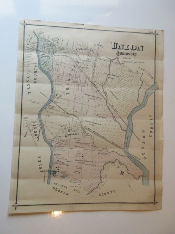 UNION Township New Jersey NJ vintage MAP RUTHERFORD