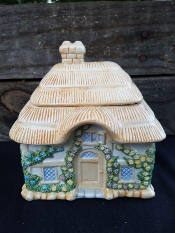 Teleflora Pastel Orange Country Cottage Collectable Porcelain Cookie Jar vintage