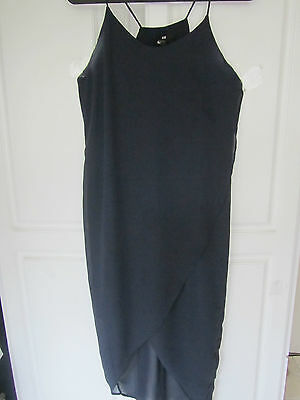 H M Black Lable  Navy Blue Sheer W Lining Dress  Spaghetti Straps  Size 10