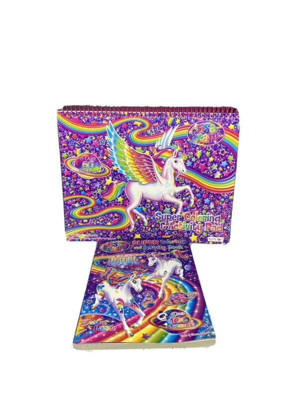 Lisa Frank SUPER COLORING & ACTIVITY PAD & Book Over 160 Stickers New