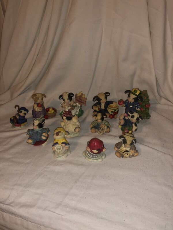 Lot Of 12 Vintage Rare Mary's Moo Moos By Enesco Collectable Figures 1994-1998