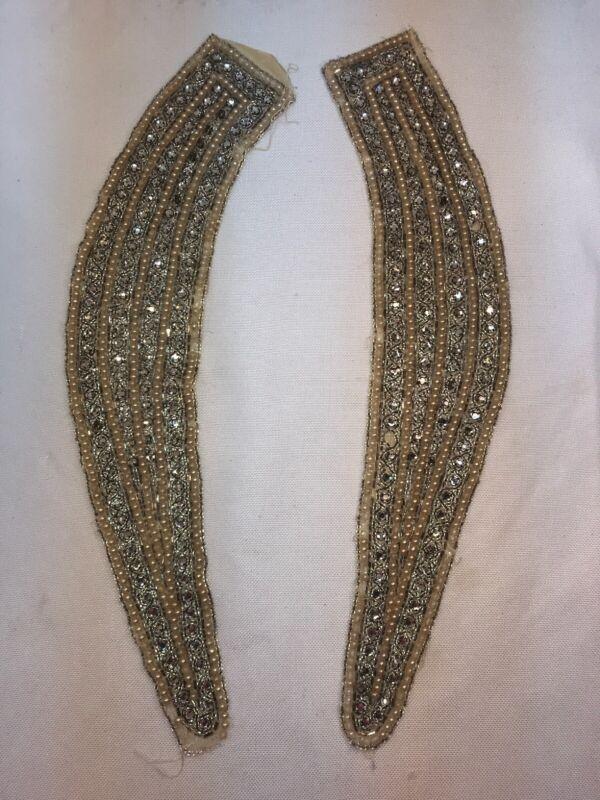 Vtg Antique Silver Collar Shoulder Appliqué Material Rhinestone Faux Pearl