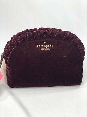 New Kate Spade Briar Lane Cosmetic Makeup Bag Velvet Cherrywood Red Ruffle