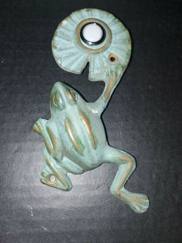 Cute Brass Frog & Lily Pad Doorbell