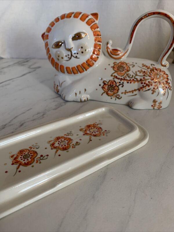 Floral Cat Porcelain Butter Dish