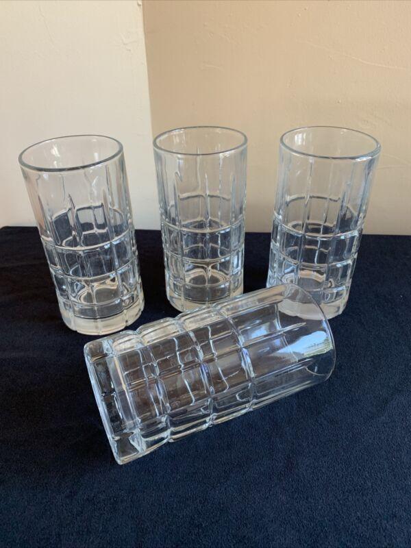 SET OF 4 Anchor Hocking TARTAN CLEAR 16-oz Ice Tea Glasses; Tall Tumblers; EUC!