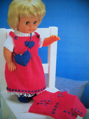 Dolls Clothes Dress Top Shoes Cardigan Bag KNITTING PATTERN DK height 12 - 22in