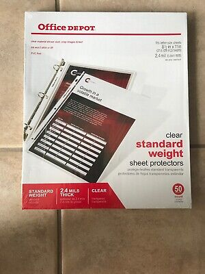 Office Depot Standard Weight Clear Sheet Protectors 8.5 X 11 Box Of 500 2.4 M