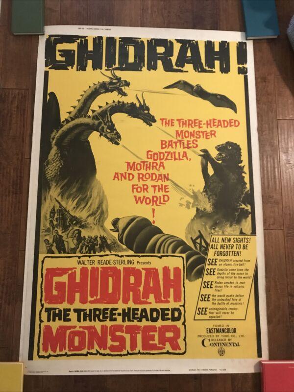 Ghidrah The Three Headed Monster      -Original  40 x 60 Movie Poster - Godzilla
