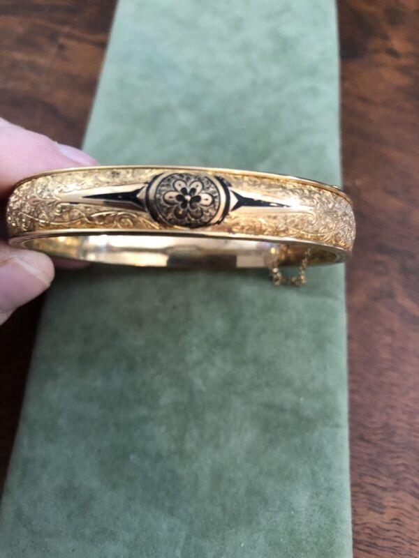 Antique Vintage Gf Gold Filled Enamel Bangle Bracelet Estate  Signed Dunn Bros