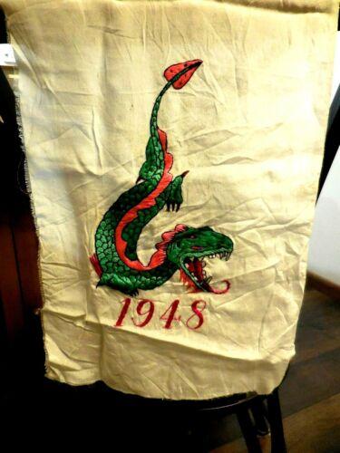 "Vtg 1948 Silk Embroidered Asian Textile Scarf? Japanese Korean Dragon 11""x39"""