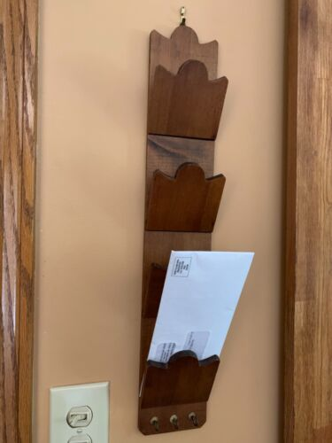 Vintage Handcrafted Wooden Mail Key Holder 4 Tiers