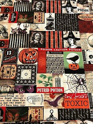 Labels Images (HALLOWEEN Vintage Images Gothic Pictures Apothecary Labels Owl Skull Fabric BTHY )