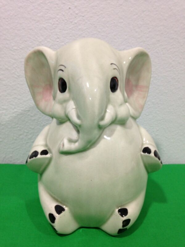 """Vintage CUTE ADORABLE ELEPHANT Animal Piggy Coin Bank USA POTTERY SIGNED 8"""" TALL"""