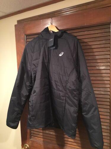 ASICS Mens Hooded Zip Puffer Jacket Black Coat Size L