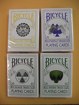 Lot 4 New Rare Trace Decks BLACK,GREEN,PURPLE,YELLOW Bicycle Playing Cards