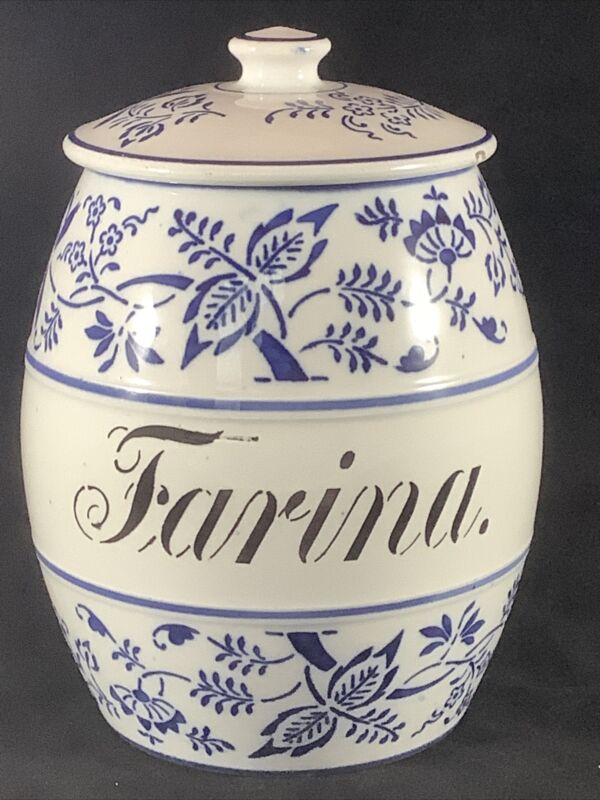 Vintage GMT & Bros. White Blue Onion Porcelain Ceramic Farina Canister Germany