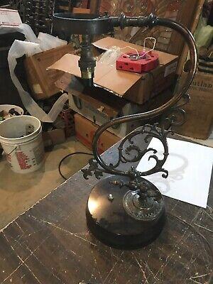 "Antique Cast Brass Eastlake Design Table Lamp 18"" X 10"" 7.75 Base No Shade"