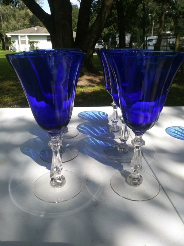 Antique Cobalt Blue Clear Stem Crystal Paneled Elegant Water Wine Goblets Glass