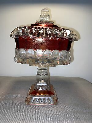 Vintage Westmoreland Cranberry Flashed Glass Wedding Pedestal Candy Dish Compote