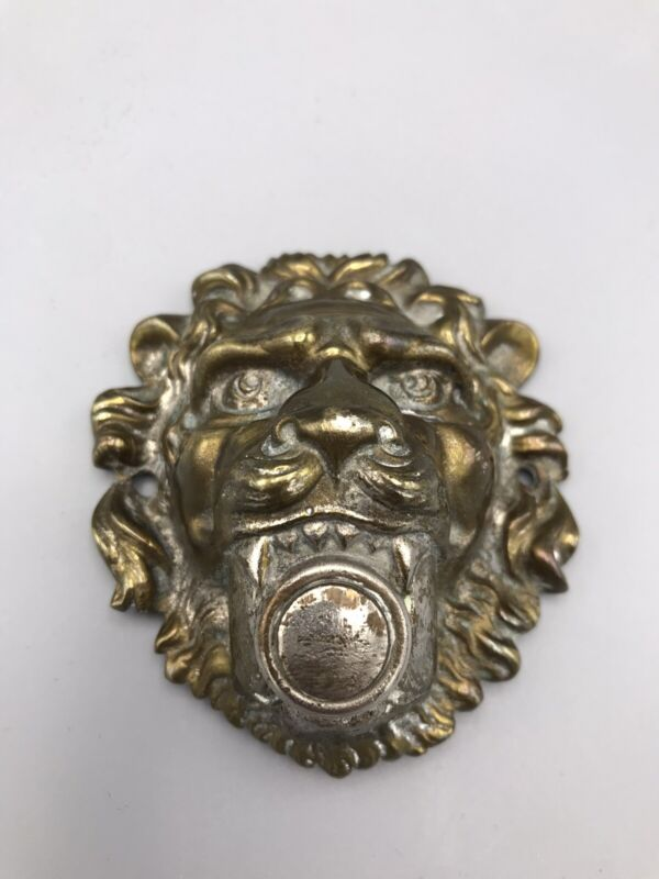 Antique or VTG Brass Door Bell Ring Push Button Lion Head Figure